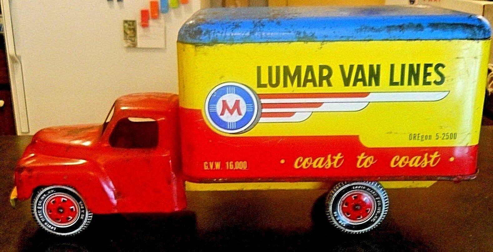 Marx lumar Van Lines camion Pressé Acier Circa années 1930 W roues en acier