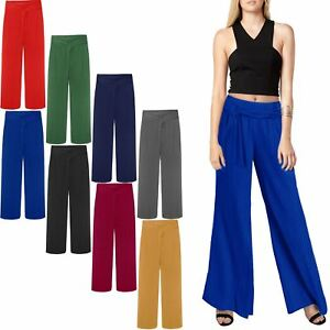 aeb55e89 Image is loading WOMENS-LADIES-BELTED-PALAZZO-TROUSERS-LONG-CRINKLE-PLEATED-