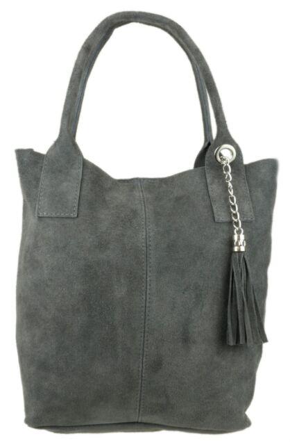 3d59c81325 Open Top Shoulder Bag Italian Genuine Real Suede Leather Oversized ...