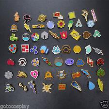 Anime Pocket Monster Poke: Kanto Gym Badges Set of 58 Metal Pins Cute