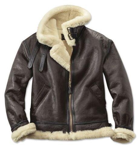 Men/'s B3 aviateur véritable peau de Mouton Shearling Cuir Marron RAF Blouson Aviateur