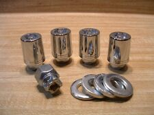 Set of 4 Chrome Super Nuts Locking 12mm x 1.25 Wheel Lugs, Washers & Removal Key