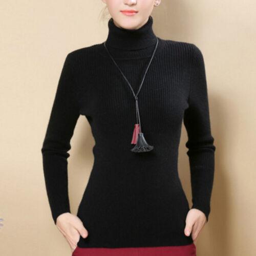 Donna Slim Maglia Maglione a collo Alto Cashmere Pullover Elasticity Cosy