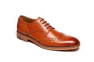 Homme-Surrey-Formel-Richelieu-a-Marron-Clair-Tout-Cuir-Goodyear-Cousu-Semelle-Chaussures
