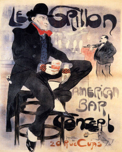 POSTER LE GRILLON AMERICAN BAR IN PARIS THE CRICKET VINTAGE REPRO FREE S//H