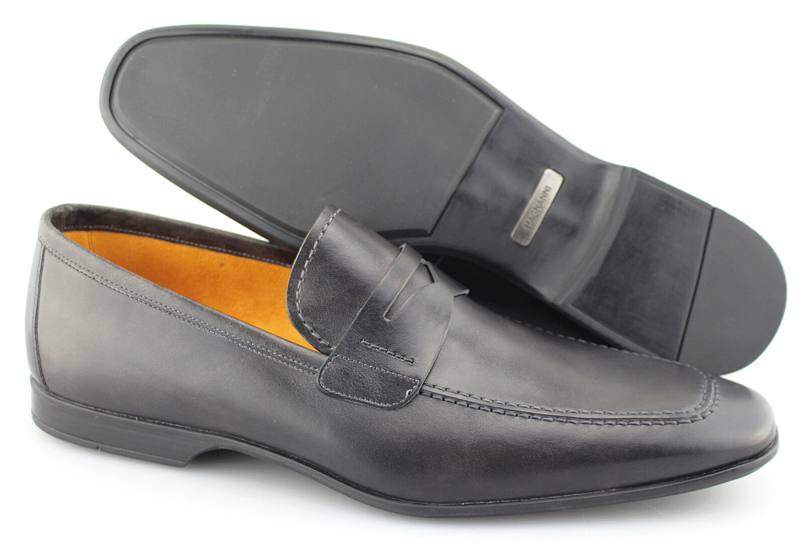 Men's MAGNANNI 'Dylan' Grey Leather Loafers Size US 10 - D