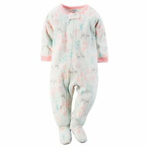 NWT Girls 5t CARTER S Ivory Deer Snowflake Fleece Footed Pajamas ... d75c51379
