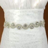 Beautiful Wedding Dress Bridal Sash Belt Crystal Rhinestone White Waist Belt