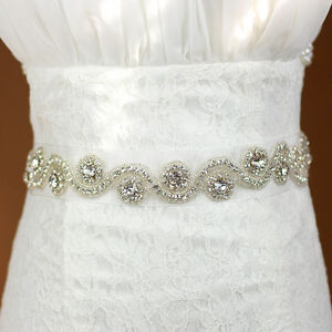 Beautiful Wedding Dress Bridal Sash Belt Crystal