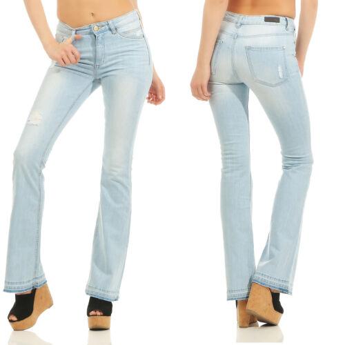 Colorado Flared jeans donna colpo BLU CHIARO DENIM USED LAVAGGIO Pantaloni Stretch
