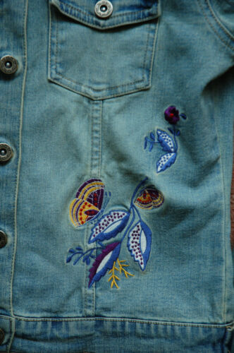 8 Butterfly Embroidered Wash Floral Jacket Vintage Denim New Stone Topshop 12 Sqxw5WYZX