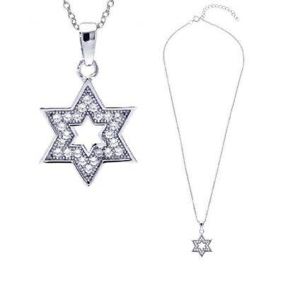 SURANO DESIGN JEWELRY Sterling Silver Necklace w//CZ Stones Star David Pendant