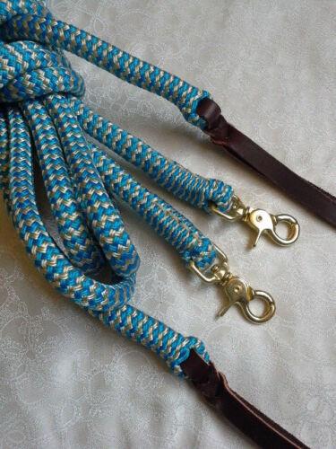 6ft Rope Split Reins in Blue//Beige Horsemanship Western Riding Campdrafting