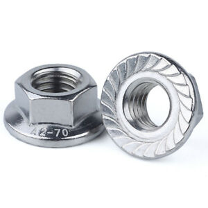 M3 M4 M5 M5 M8 M10 M12 A2-70 Stainless Steel Metric Hexagon Flange Nuts DIN6923