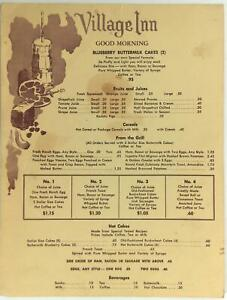 1960's Original Vintage Breakfast Menu VILLAGE INN Restaurant