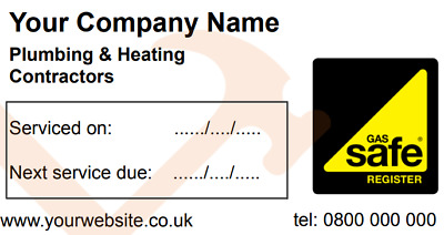 50 Personalised Gas Installed// Serviced Labels //Stickers /& 2 logos Full Colour