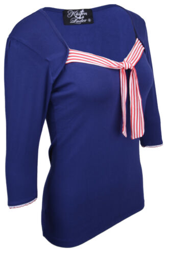 Küstenluder TAWNA Sailor KNOT Striped Neck 3//4 Arm SHIRT Blau Rockabilly