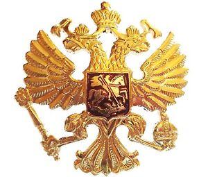 RUSSIAN-MILITARY-2-HEADED-EAGLE-BADGE-genuine-Soviet-army-cap-USSR-jacket-pin