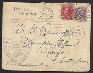 United States 1936 TIN CAN MAIL Niuafoou cover to Tonga