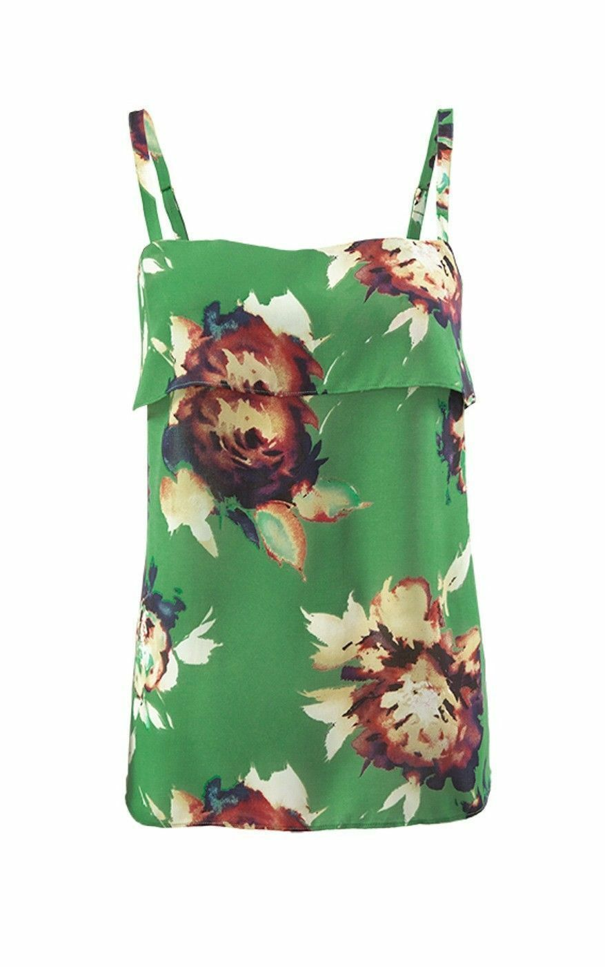 Cabi 3264 Bloom Cami, Green Floral, Tier Design, Size M, NEW-NWT, Orig.