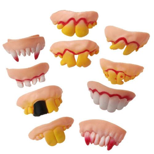 10pcs Funny Bogan Hillbilly Ugly Fake Teeth Halloween Party Dress Up Fake Decor