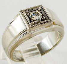 Men's 18K Solid White Gold DIAMOND Ring Size 8 NR