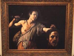 Large-Antique-Religious-Oil-Portrait-Painting-Of-David-amp-Goliath-Old-Master-Art