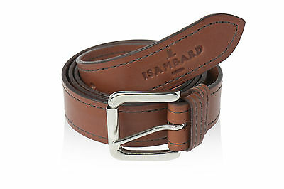 ISAMBARD Clifton Leather Belt 1 Pin, in Black or Cognac Natural Veg Tan Leather