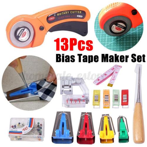 13Pcs Fabric Bias Tape Maker Kit Sewing Quilting Awl Pin Binder Foot Tools Set