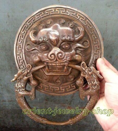 China Fengshui Brass Lion Foo Fu Dog Head Mask Statue Old Door knocker 24cm