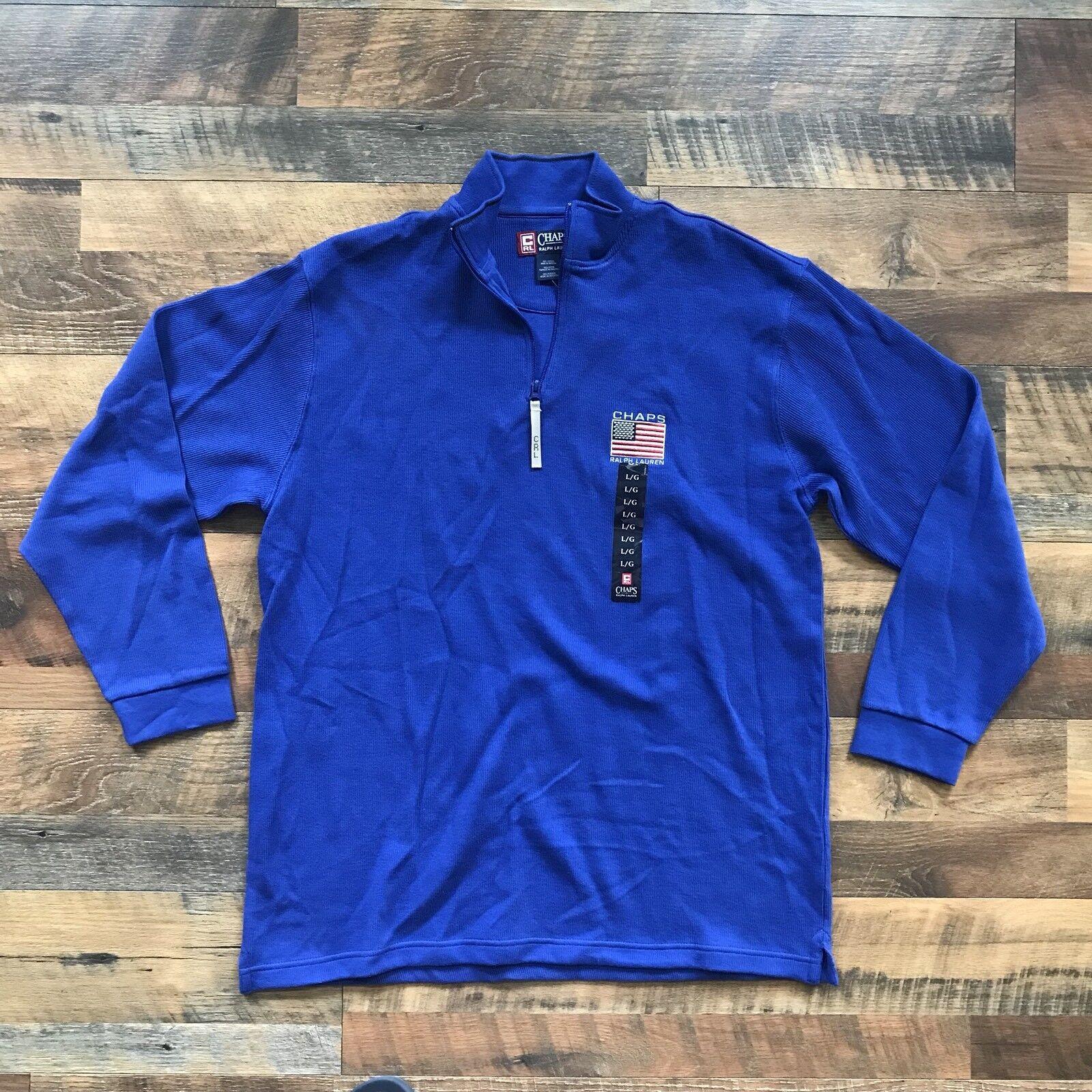 Neue Retro Chaps Ralph Lauren 1 4 Reißverschluss Sweatshirt Big USA Flagge Logo