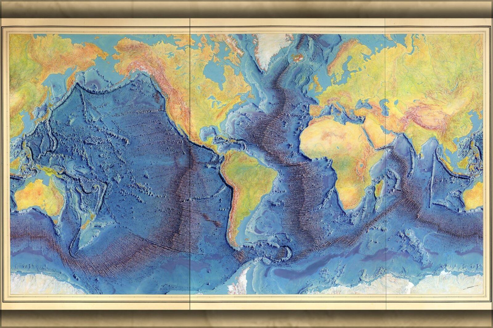 Plakat, Viele Größen; Heezen-Tharp Weltweit Ozean Boden KKunste von Berann 1977