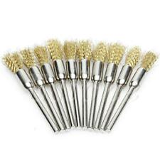 10Pc Silver Mini Small Wire Brush Brushes Brass Cup Wheel For Grinder //Drill Set
