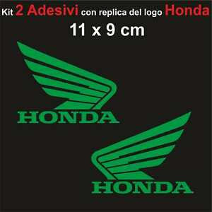 Kit-2-Adesivi-Honda-Moto-Stickers-Adesivo-11-x-9-cm-decalcomania-VERDE