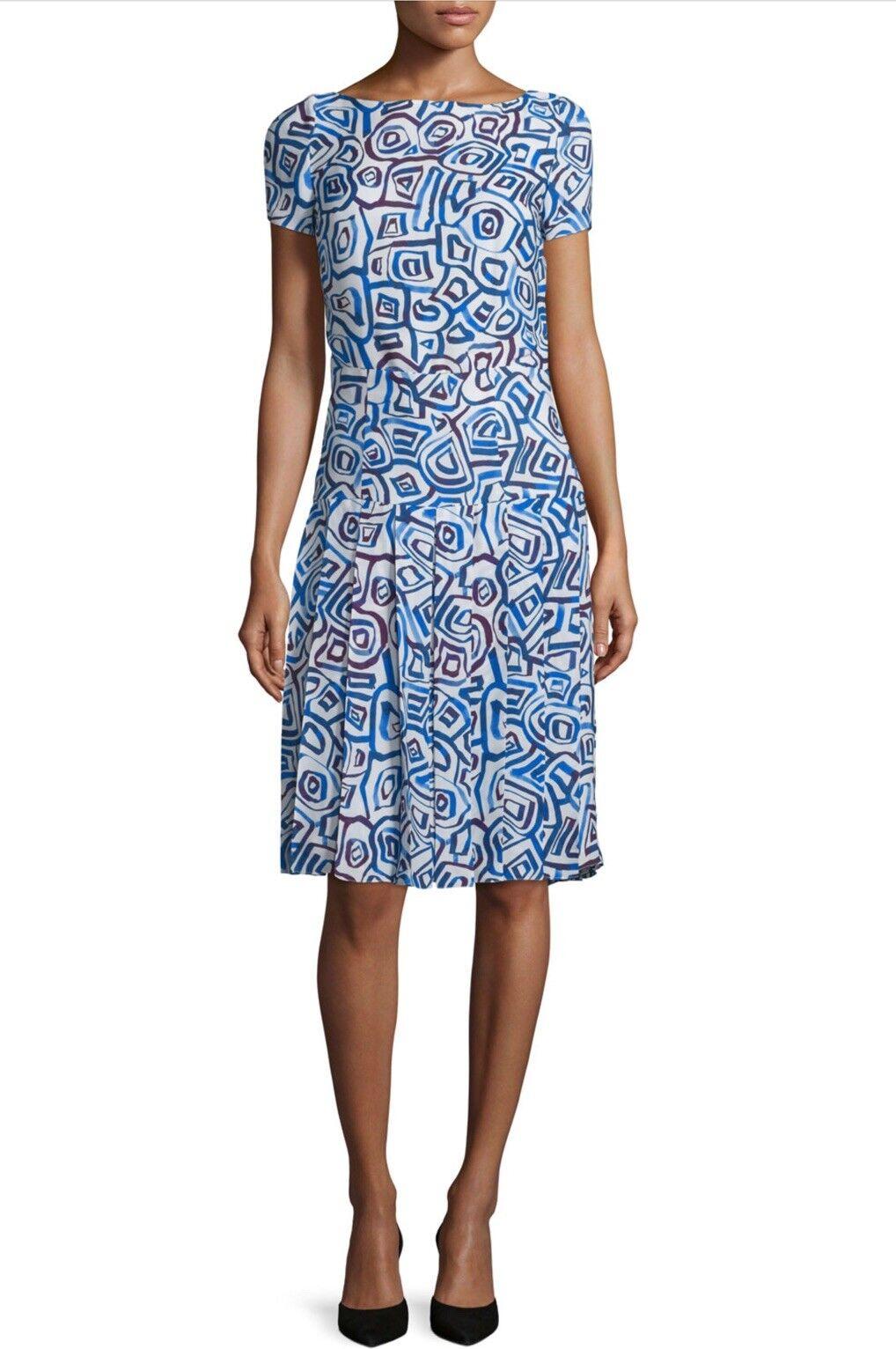 NWT   2190 Oscar de la Renta Abstract Watercolor Print Dress Sz 4, bluee