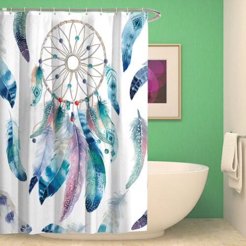 Dream Catcher Bathroom Shower Curtain Waterproof Fabric Bath Curtain Set 12 Hook