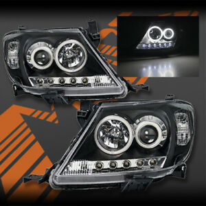 Black-High-Power-LED-DRL-Halo-Projector-Head-Lights-for-TOYOTA-HILUX-VIGO-05-11