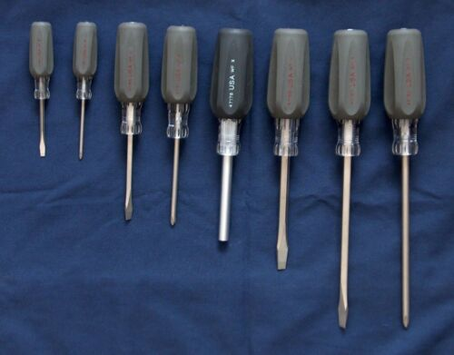 SLOTTED NEW CRAFTSMAN 8 PIECE SCREWDRIVER SET PHILLIPS CUSHION GRIP USA MADE