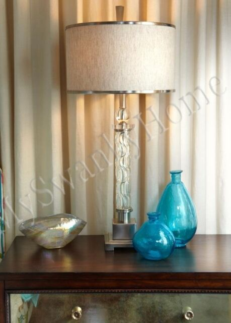 Contemporary CARVED GLASS Table Lamp Chrome Nickel NEIMAN MARCUS Modern White