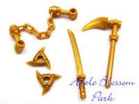 Lego Ninjago Ninja Gold Spinjitzu Weapon Set - Minifig Shuriken Sword Scythe
