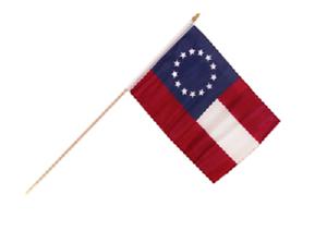 "12x18 12/""x18/"" First National CSA Stars and Bars 13 Star Stick Flag wood staff"