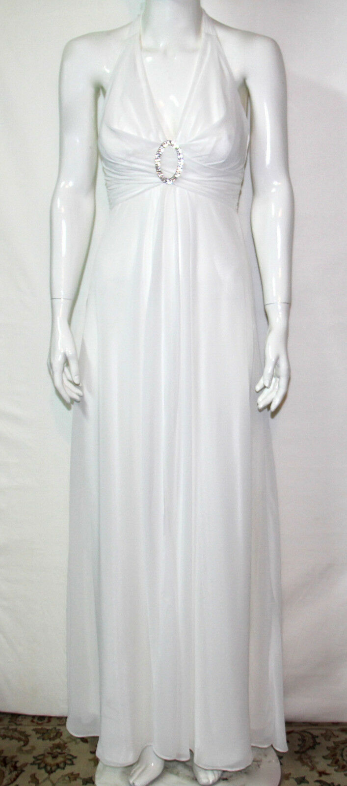 NEW Betsy & Adam Size 4 Embellished Halter Evening Gown IVORY