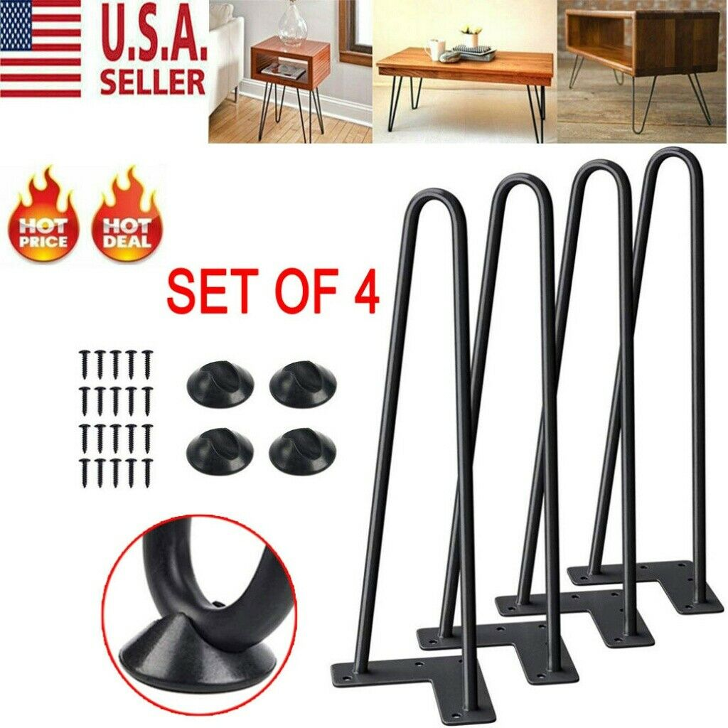 """22/"""" Set of 4 Solid Iron Bar W// Screw US NEW Coffee Metal Hairpin Table Legs 8/"""""""