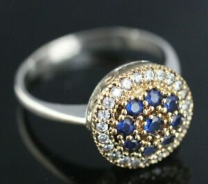 925 Sterling Silver Handmade Authentic Turkish Sapphire Ladies Ring Size 6-9