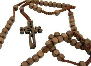 Wood-Rope-Rosary-Necklace-Jesus-Cross-Square-Beads-Sturdy-Construction-NR