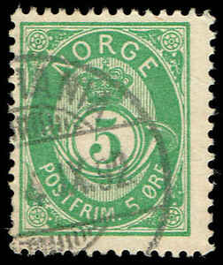 Scott # 39B - 1891 - ' Post Horn ', NORGE in Sans-Serif Caps