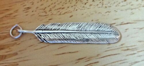 Sterling Silver 38x8mm arrondi Indian Feather Charm