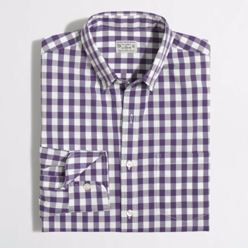 CREW Men/'s Factory Washes Slim Button-Up Gingham Purple Shirt Size Small New J