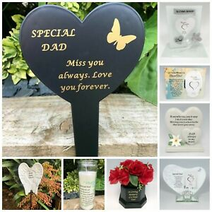 eBay & Details about Dad Fathers Day Memorial Plaque Frame Stake Flower Vase Grave Candle Remembrance