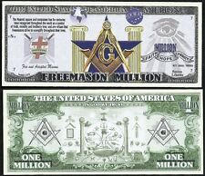 Lot of 25 BILLS - Free Mason Symbols Million Dollar Masonic Square & Compass